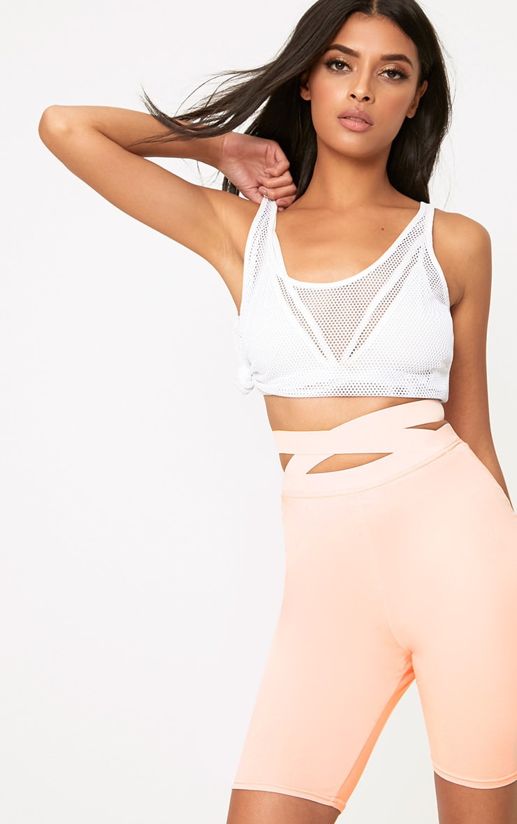 Nude Strappy Waist Cycle Shorts 1