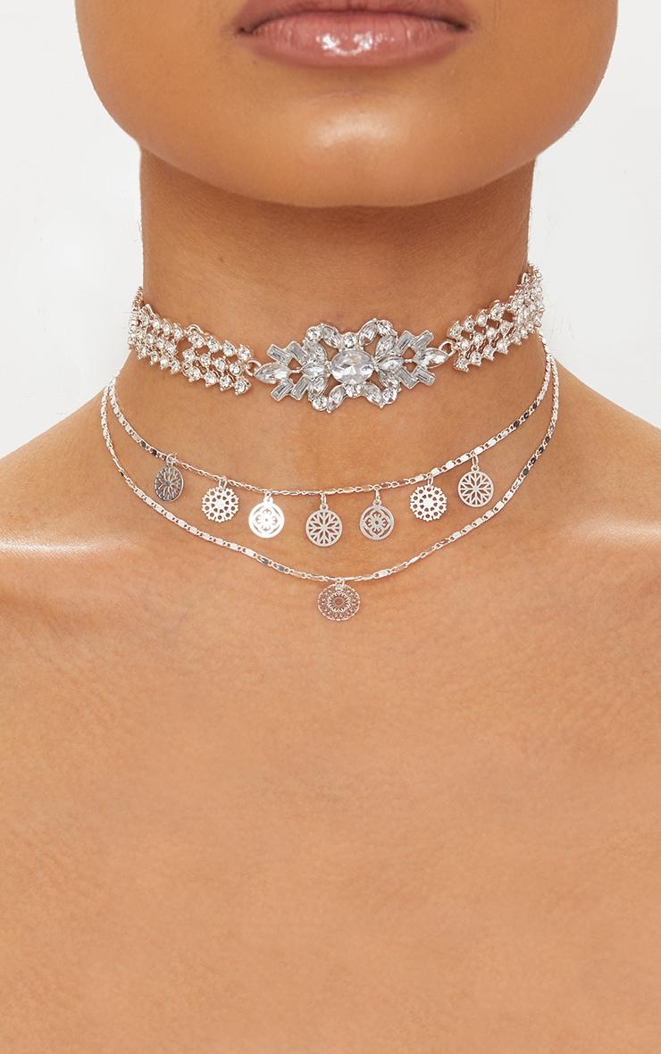 Silver Diamante Multi Layered Choker 1