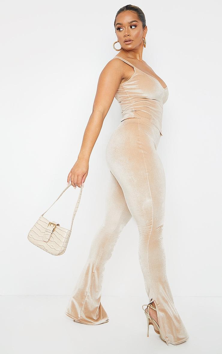 Shape Champagne Velvet Split Hem Trousers 1