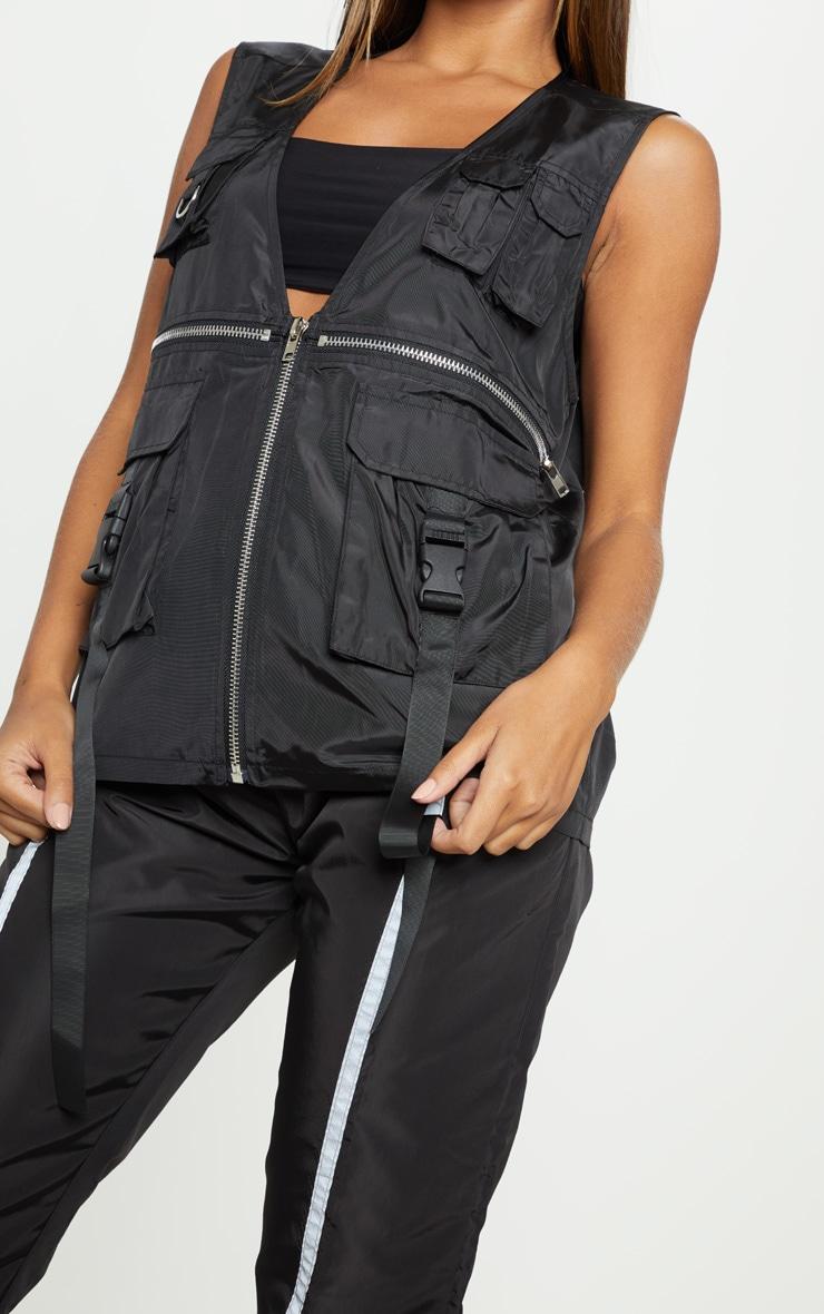 Black Utility Oversized Vest 5