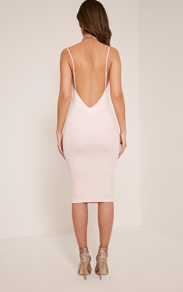 Ada Nude V Back Crepe Midi Dress 2