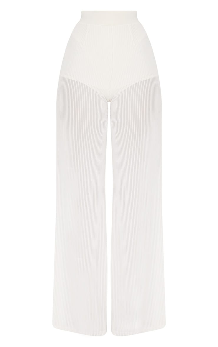 Shamira Pastel Lemon Sheer Stripe Wide Leg Trousers 3