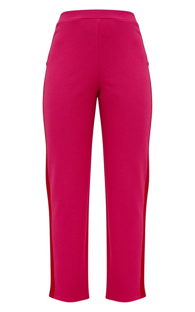 Hot Pink Contrast Stripe Straight Leg Trouser 3