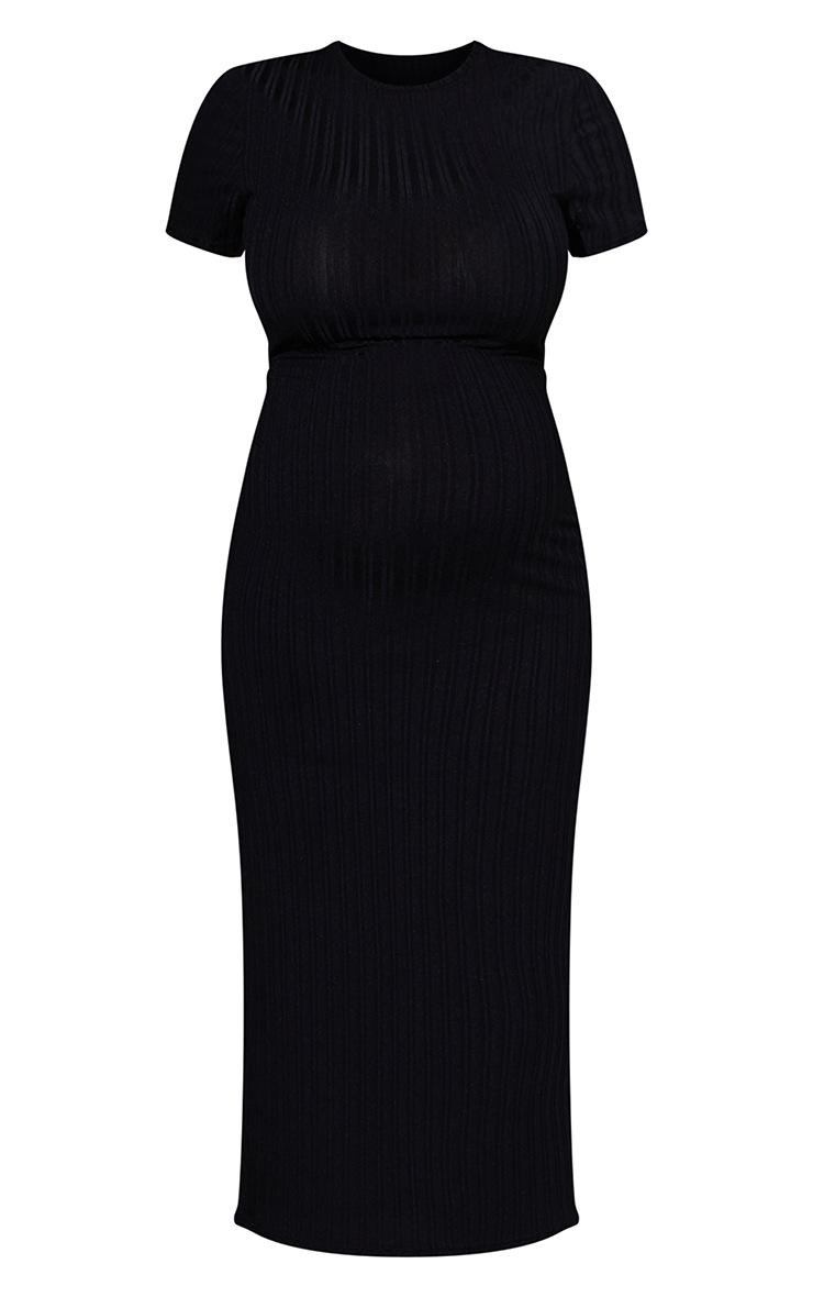 RENEW Maternity Black Rib Short Sleeve Midi Dress 5
