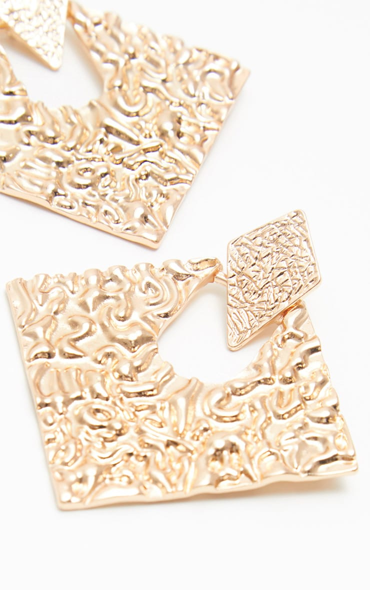 Gold Door Knocker Metal Textured Diamond Shape Studs 3