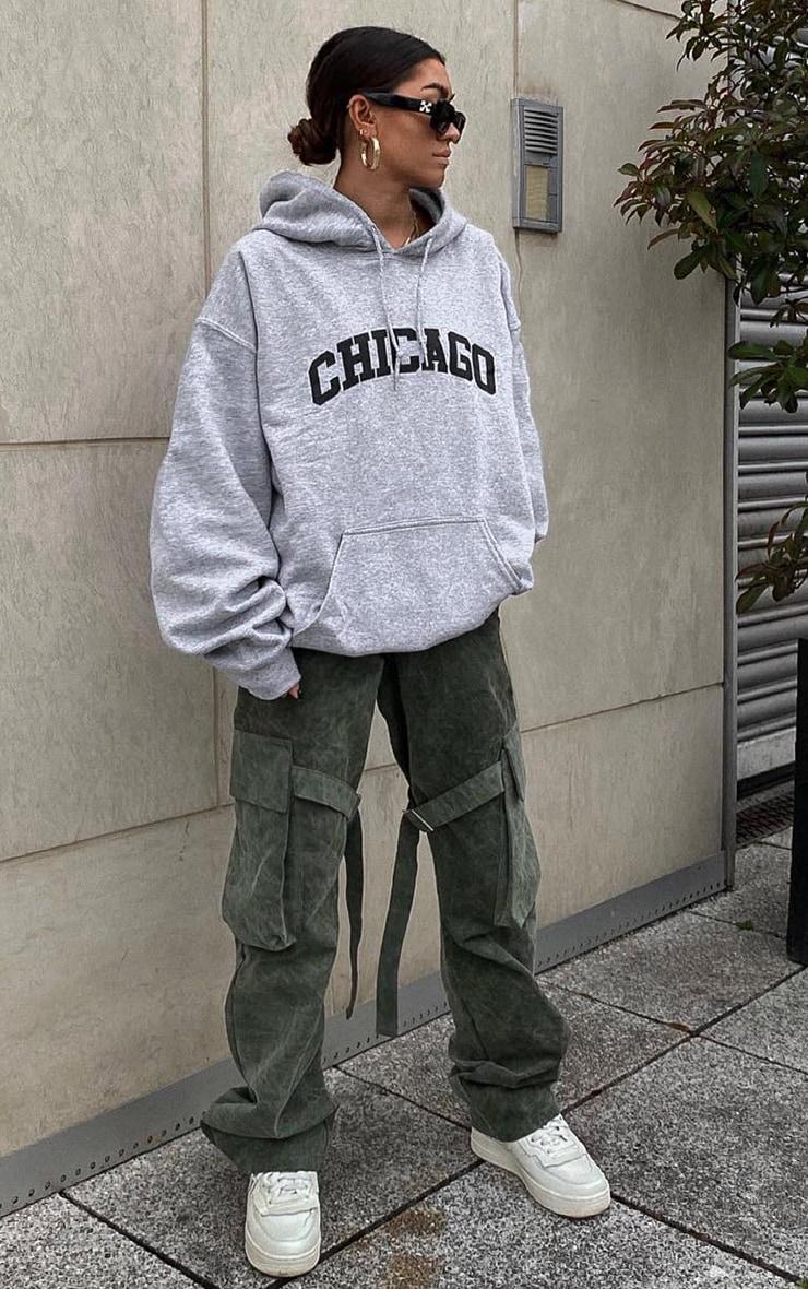 Grey Chicago Printed Hoodie 1
