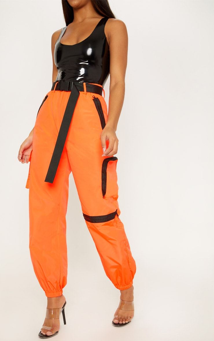 Neon Orange Shell Belted Pocket Detail Joggers 2