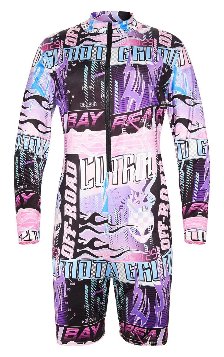 Pink High Neck Motocross Print Unitard 3