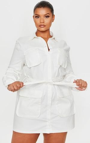 Plus White Utility Shirt Dress