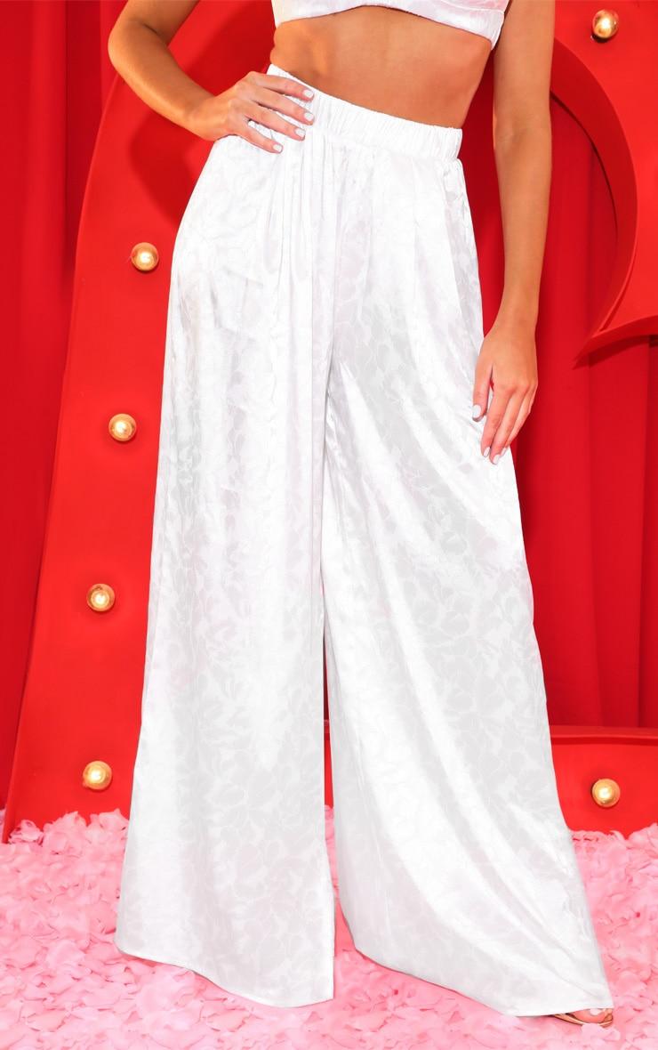 Cream Oriental Jacquard Wide Leg Pants 2