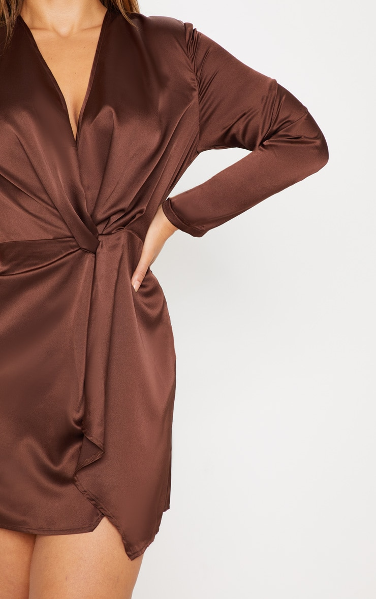 Plus Chocolate Brown Satin Long Sleeve Wrap Dress 5