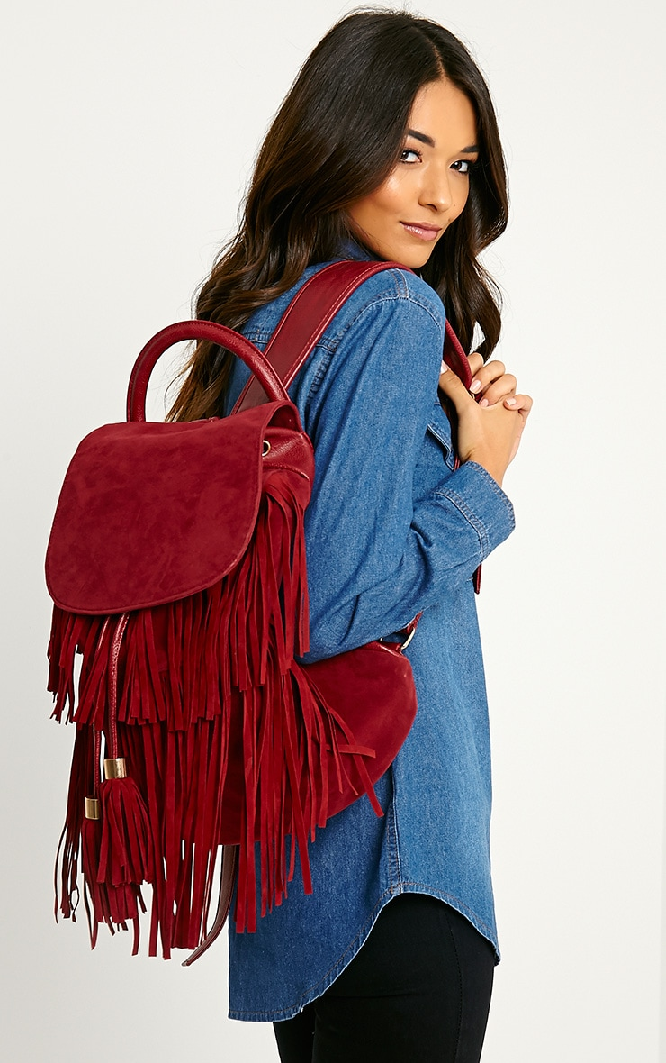 Narina Wine Suede Tassel Backpack 3