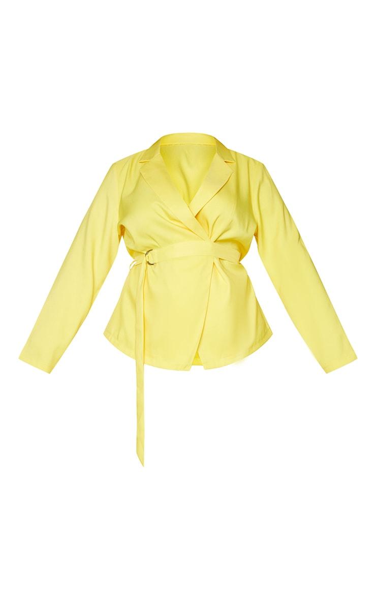 Plus Bright Yellow Woven Belt Detail Blazer 5