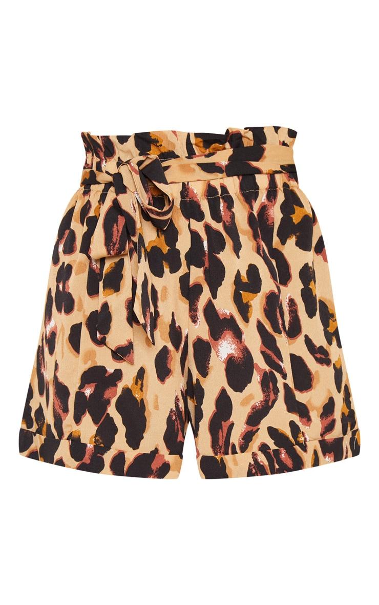 Leopard Print Printed Satin Shorts 3