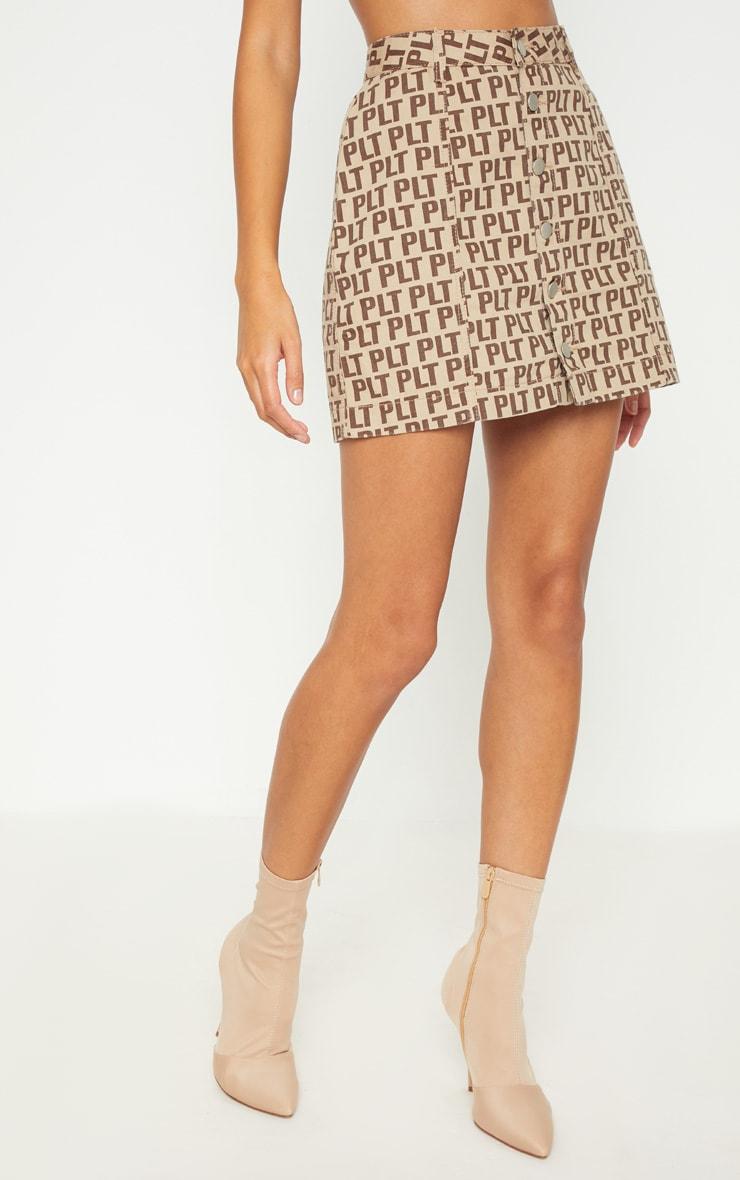 PRETTYLITTLETHING Brown Denim Skirt 2