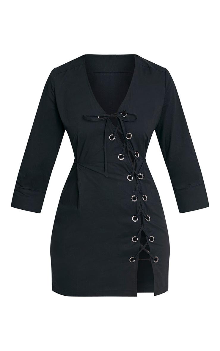 Penny robe moulante noire à œillets à lacets 3