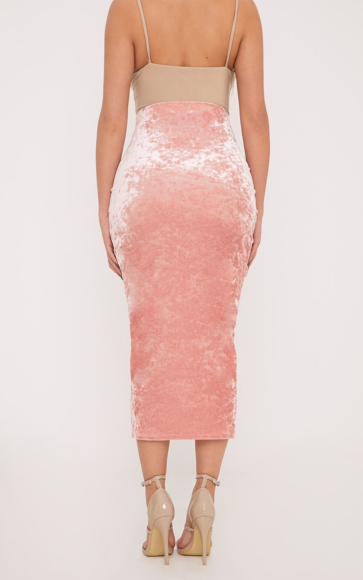 Shape Pearl Pink Velvet Midi Skirt  4