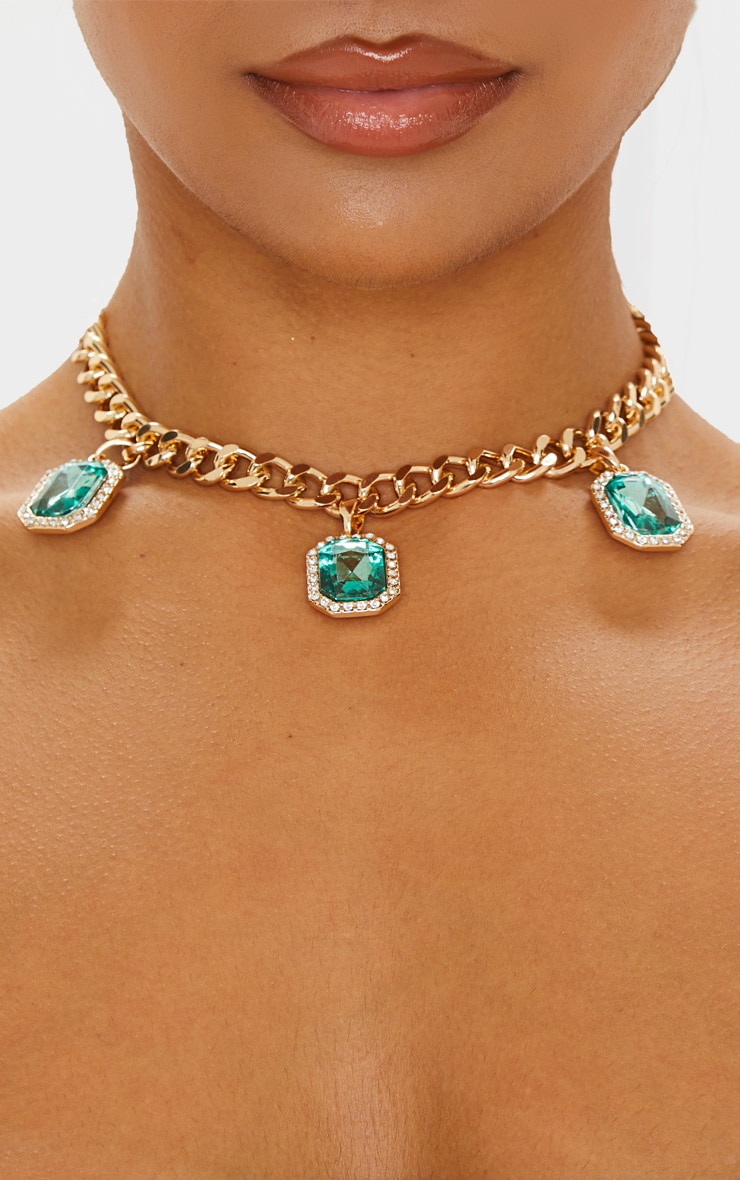 Gold Emerald Drop Chain Choker 1