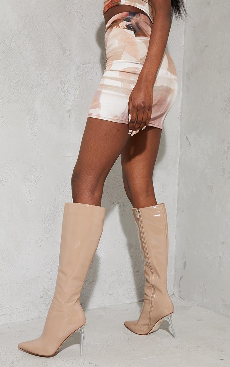 Nude Textured Print Slinky Split Side Mini Skirt 3