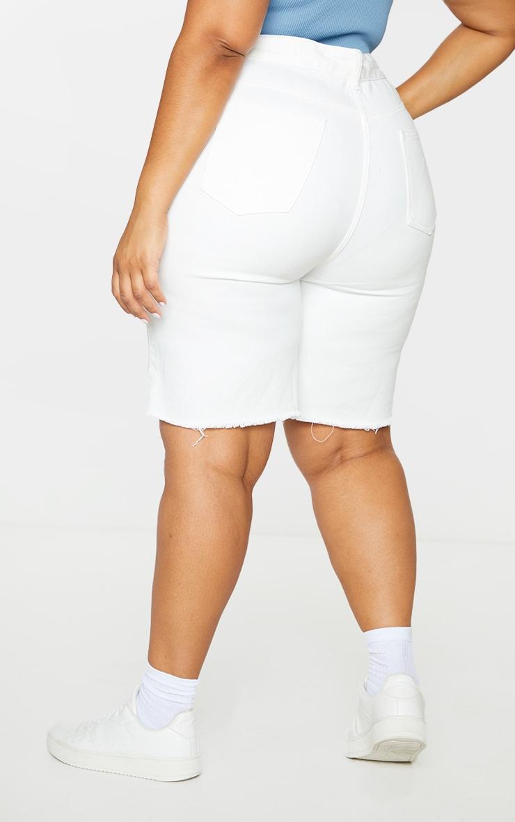 Plus White Longline Denim Shorts 3