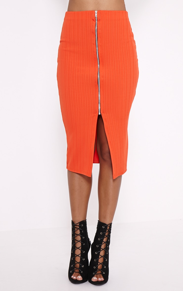 Kaya Orange Ribbed Zip Front Midi Skirt 2