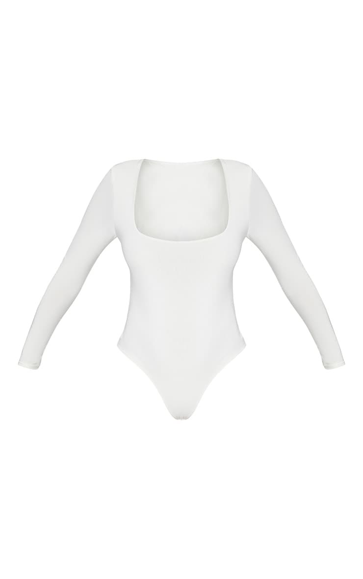 White Second Skin Square Neck Thong Bodysuit  3