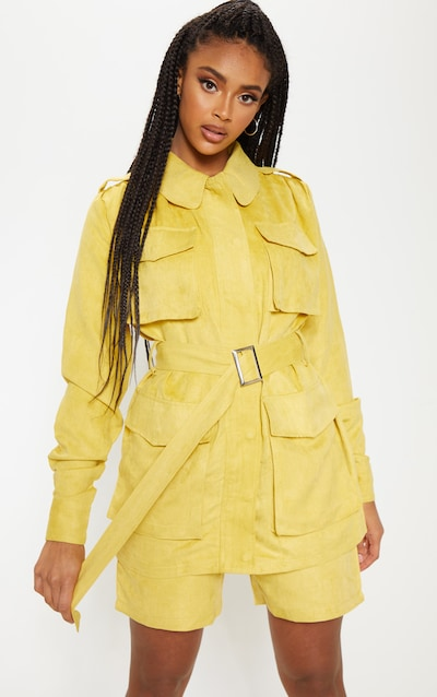6ae92dad9137 Mustard Faux Suede Pocket Detail Jacket. More colours available