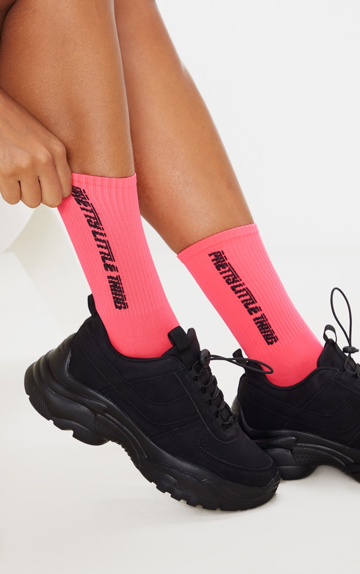 Neon Pink Pretty Little Thing Logo Socks 2