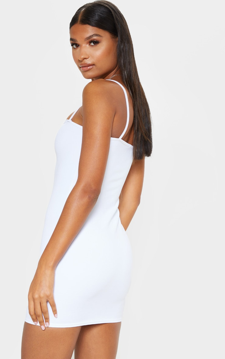 Desri White Straight Neck Bodycon Dress 2