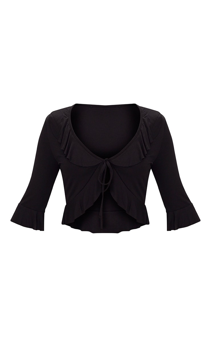 Black Jersey Frill Tie Front Top 3