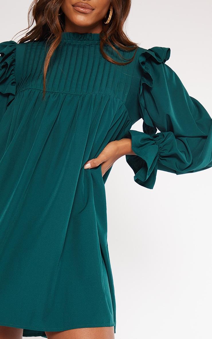 Emerald Green Ruffle Binding Detail Shirt Dress 4