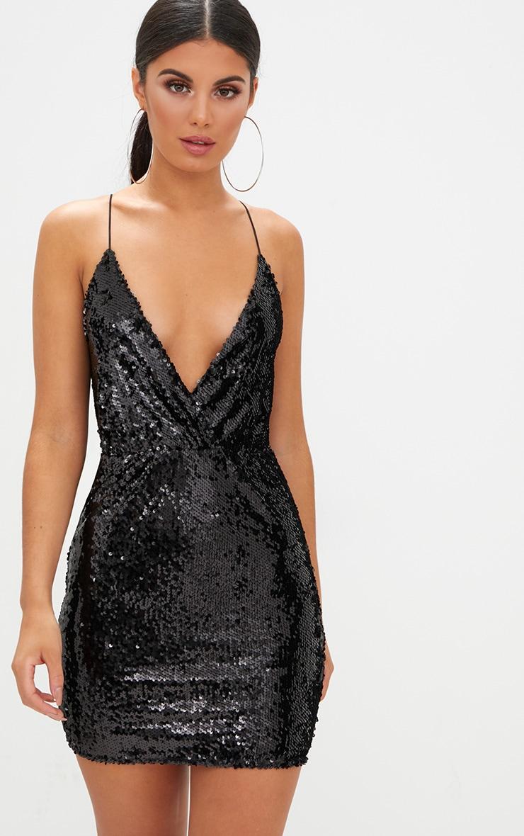 Black Plunge Sequin Bodycon Dress 1
