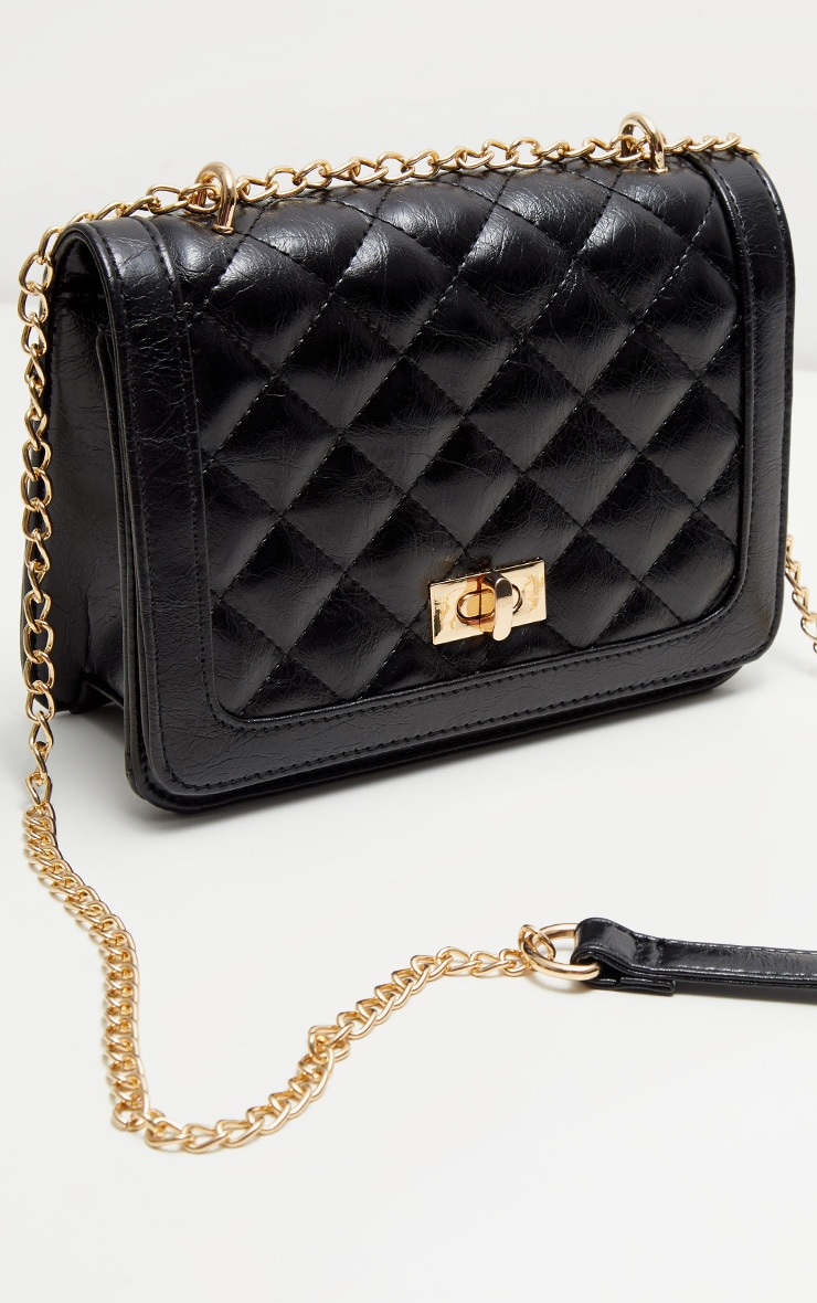Black PU Quilted Chain Cross Body Bag 2