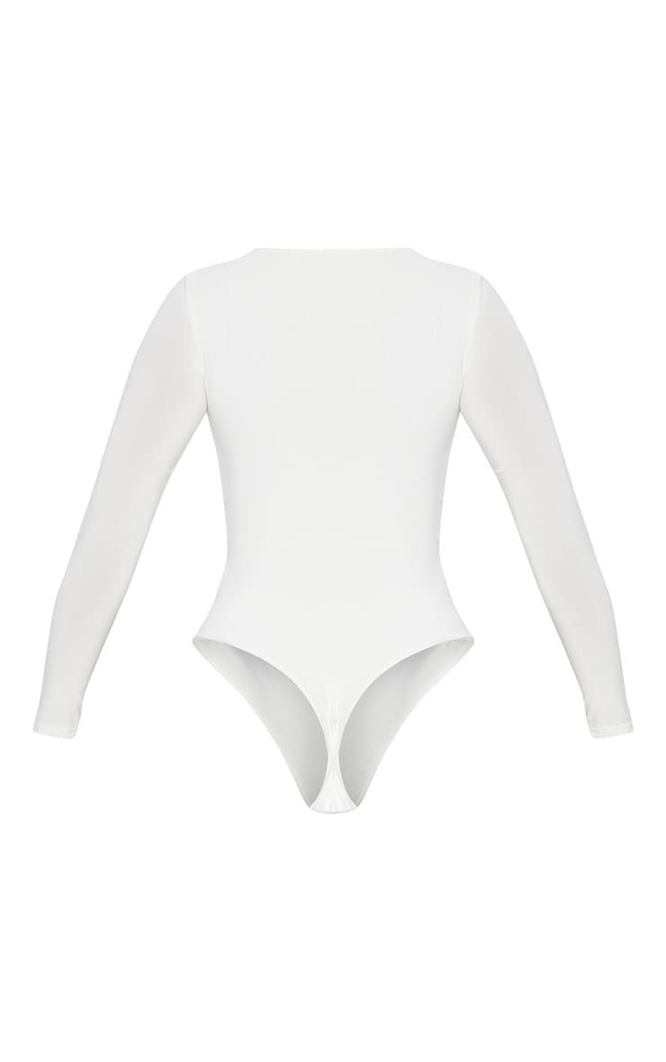 White Second Skin Long Sleeve Thong Bodysuit 4