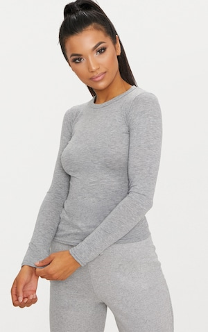 Basic Grey Marl Long Sleeve Fitted T Shirt  image 1