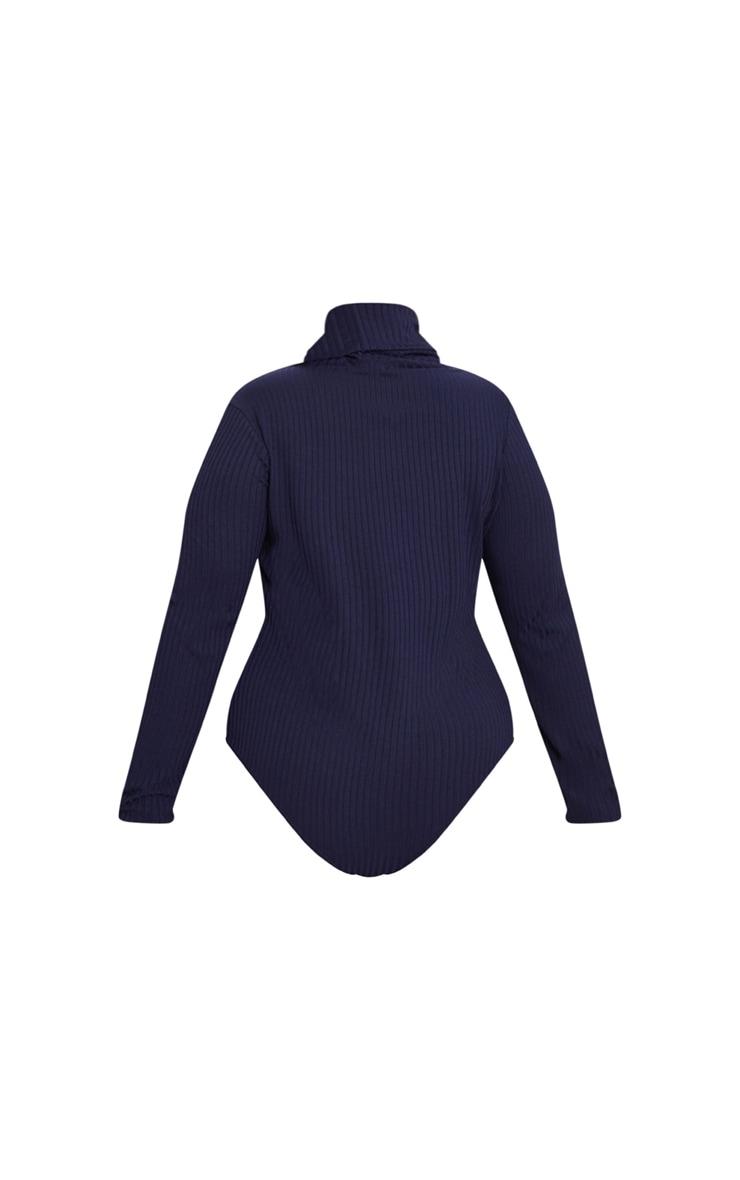 Plus Stone High Neck Ribbed Bodysuit 4