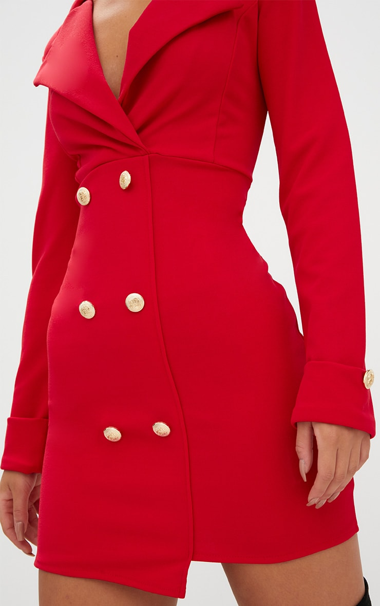Red Gold Button Detail Blazer Dress 5