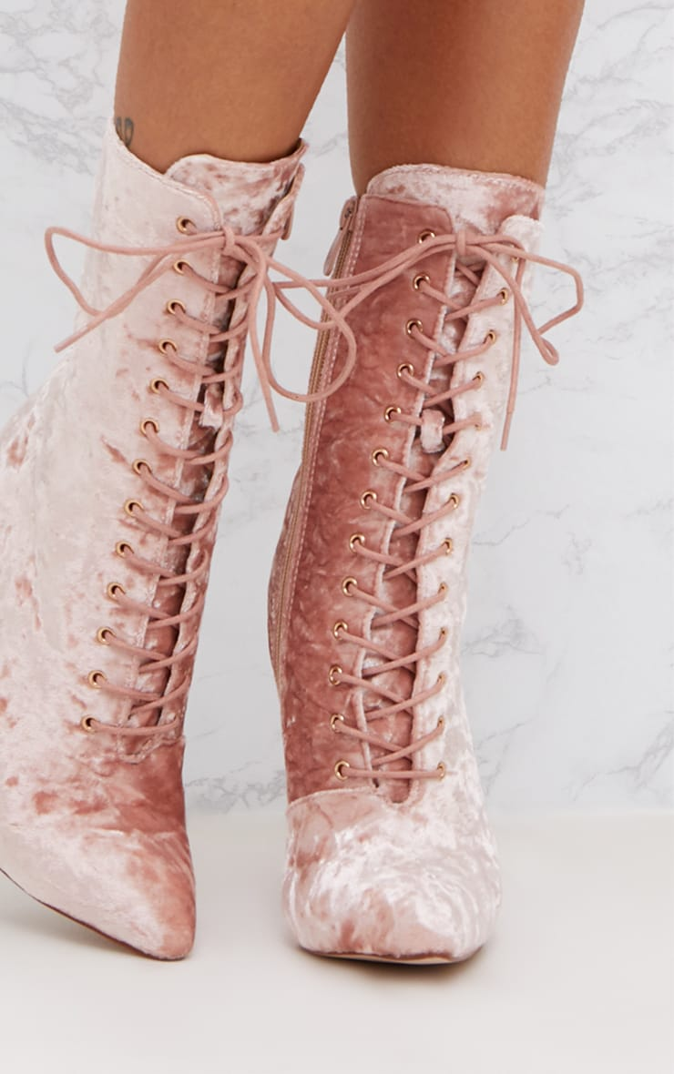 Pink Crushed Velvet Lace Up Heeled Boots 5