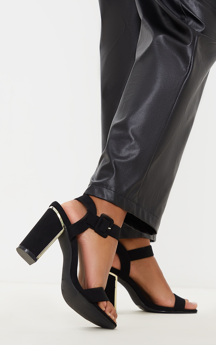 Black Wide Fit Metal Heel Detail Block Heel Sandal 2