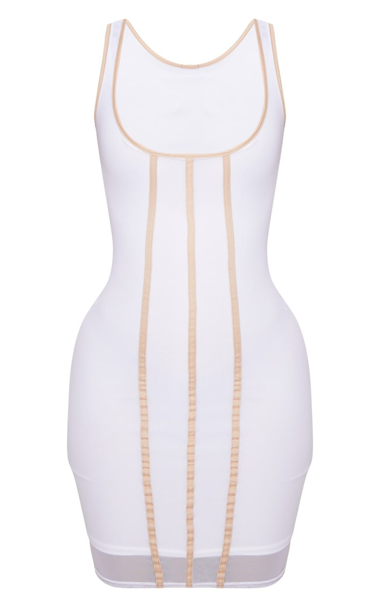 Shape White Contrast Binding Bodycon Dress 3