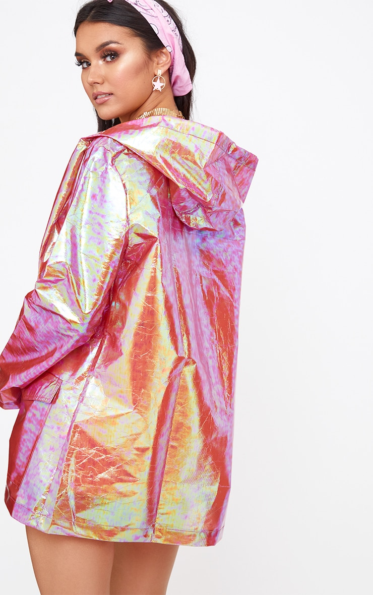 Cobie Gold Holographic Rain Mac 2