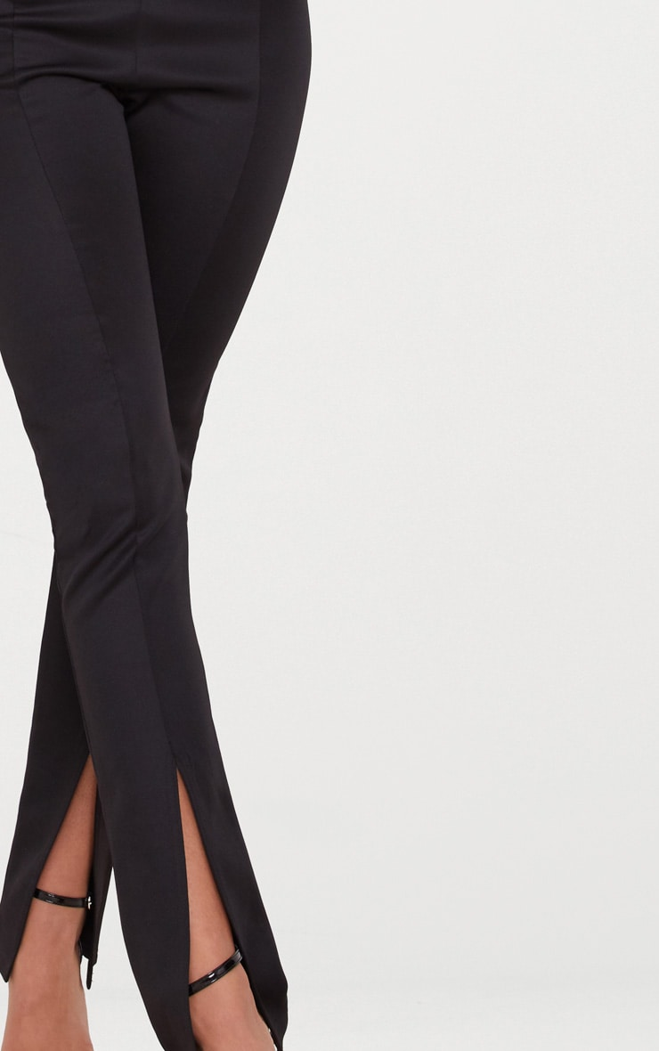 Black High Waisted Split Hem Detail Trouser 4