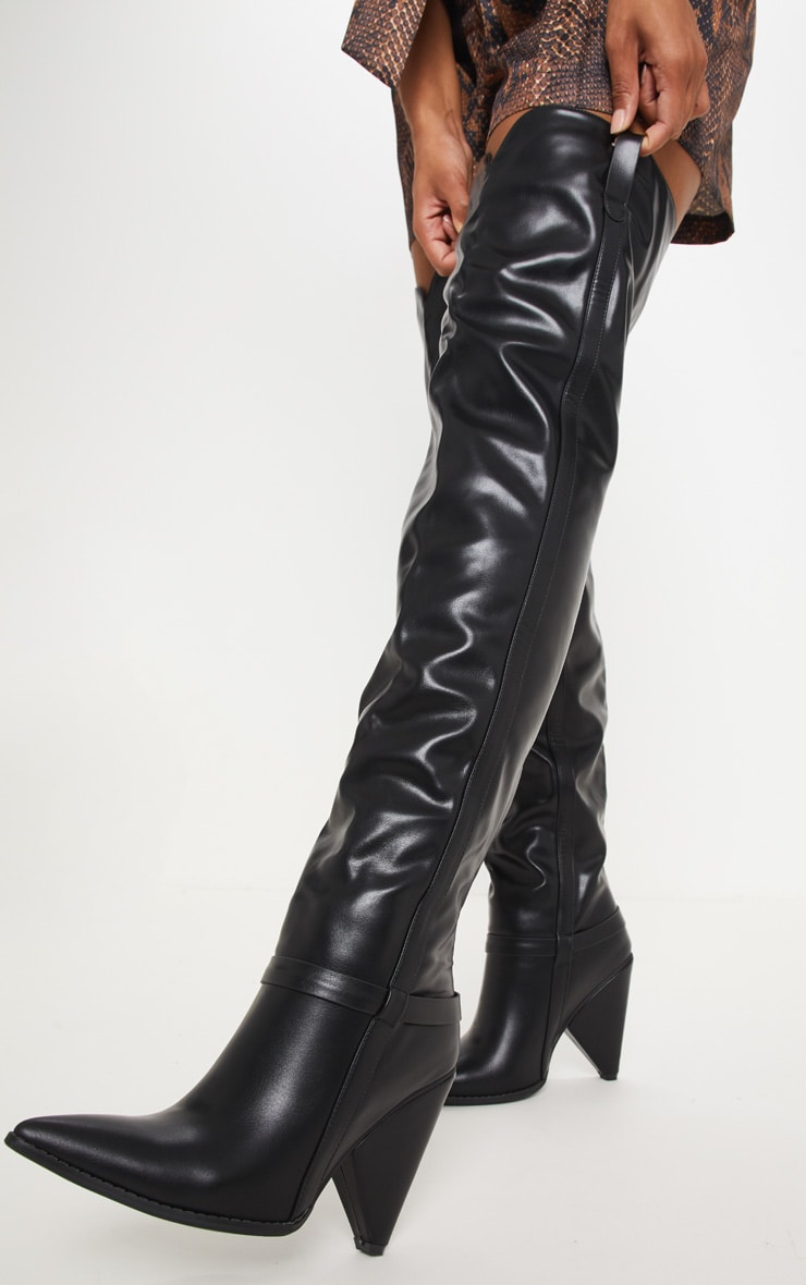Black Cone Heel Thigh High Western Boot 2