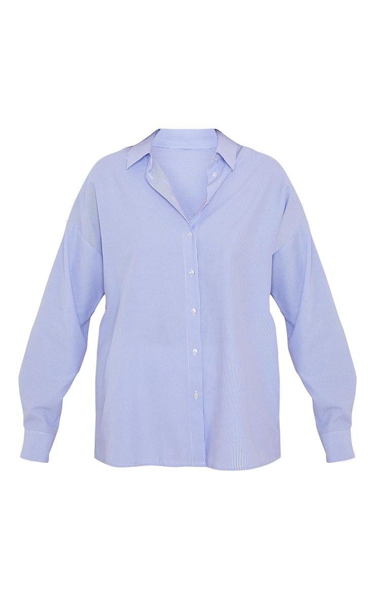Chemise oversize en coton bleu à rayures 5