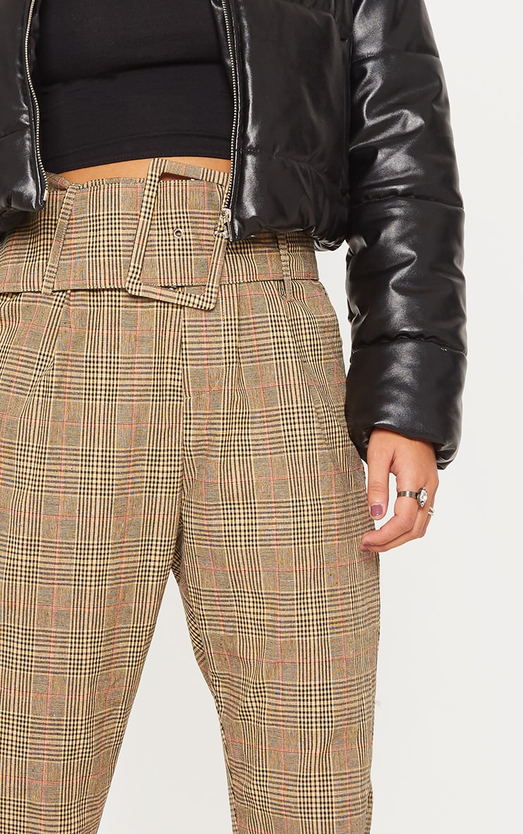 Stone Check Super High Waisted Printed Belted Tapered Trouser 5