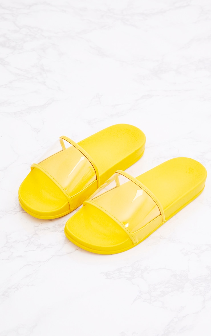 yellow clear strap slides  shoes