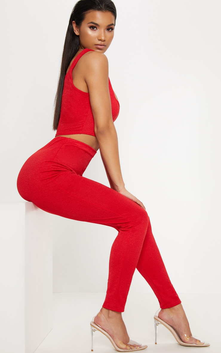Red High Waisted Stretch Crepe Legging 1