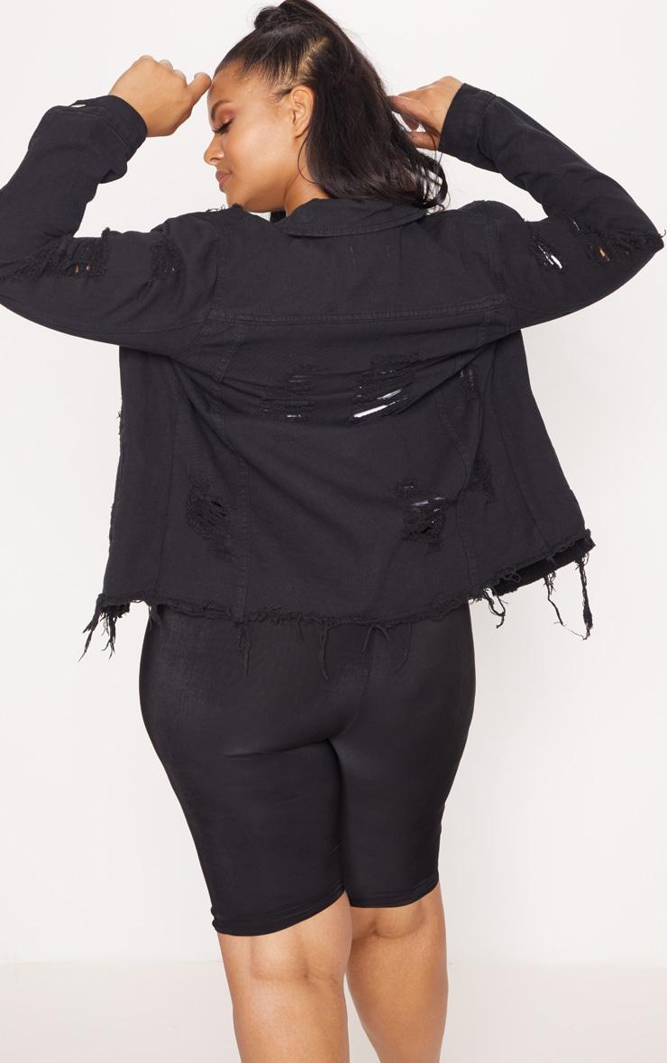 Plus Black Distressed Oversized Denim Jacket 2