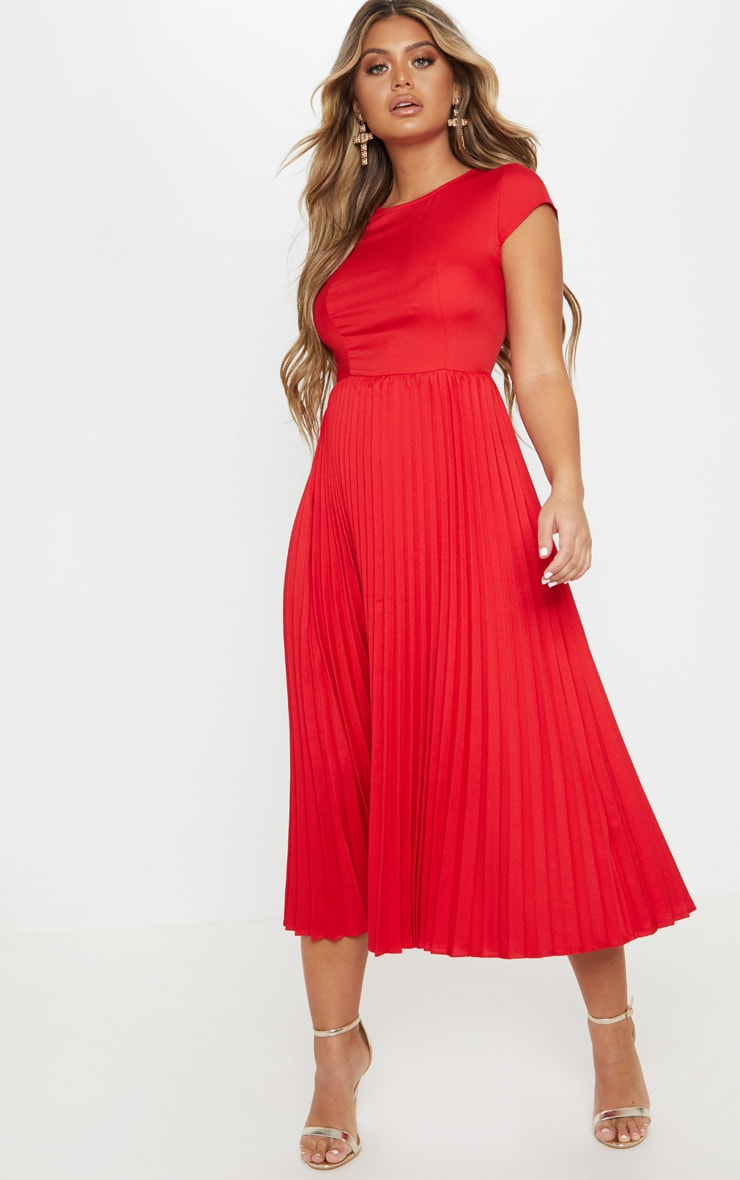 Red Cap Sleeve Pleated Midi Skater Dress 1