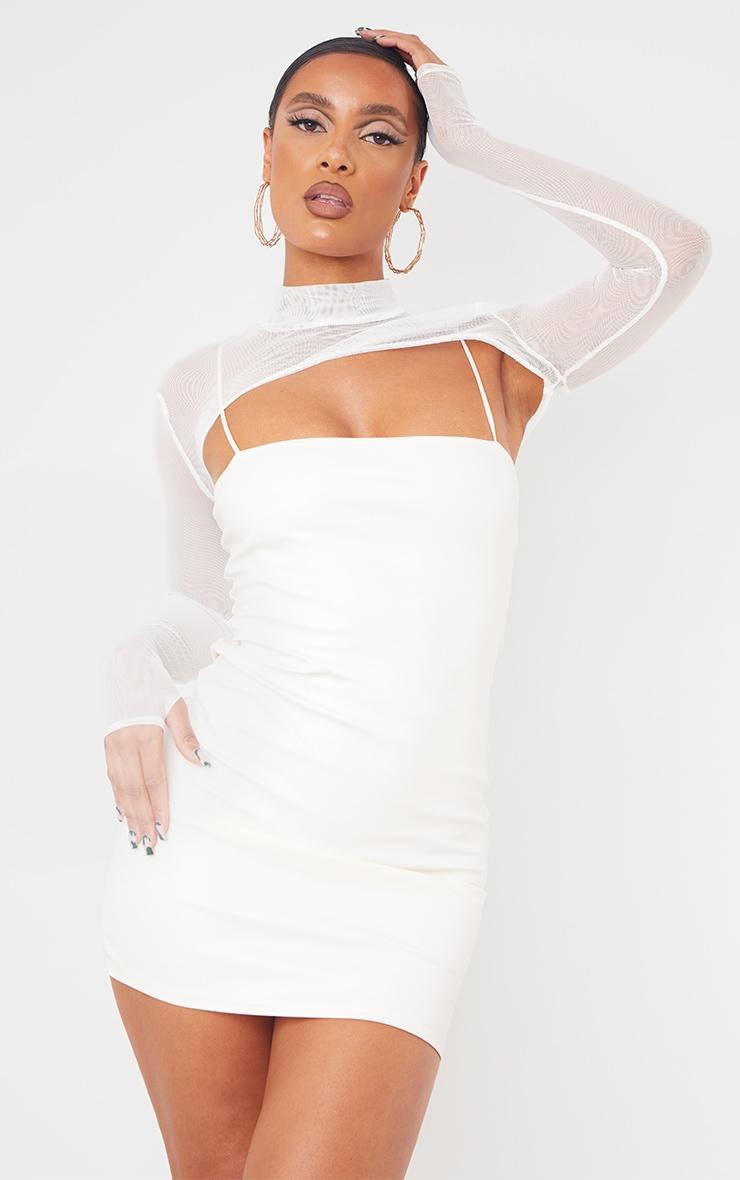 Cream Mesh Layer Spaghetti Strap PU Bodycon Dress 1